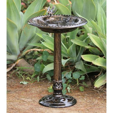 - Alpine Birdbath Bronze w/ Bird Decoration, 26 Inch Tall
