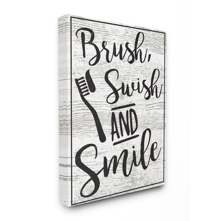 The Stupell Home Decor Collection Brush Swish And Smile Black and White Typography Stretched Canvas Wall Art, 16 x 1.5 x 20