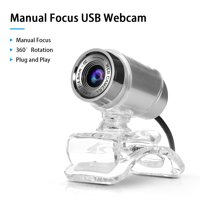 480P Webcam USB Manual Focus Drive-free Computer Camera with 3.5mm Audio Plug for PC Laptop Video Calling Conferencing Online Studying