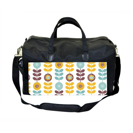 Circle Petal Pattern Large Black Duffel Satchel Style Therapy Supplies / Therapist's Bag (Petal Purse)