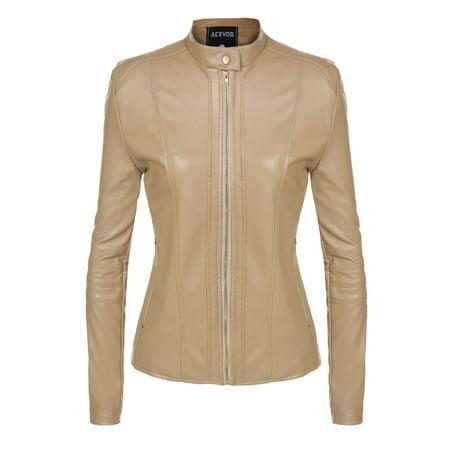 ACEVOG Women's Quilted Biker Jacket Motorcycle Coat Jacket,Zipper Faux Leather Khaki - 50s Leather Biker Jacket