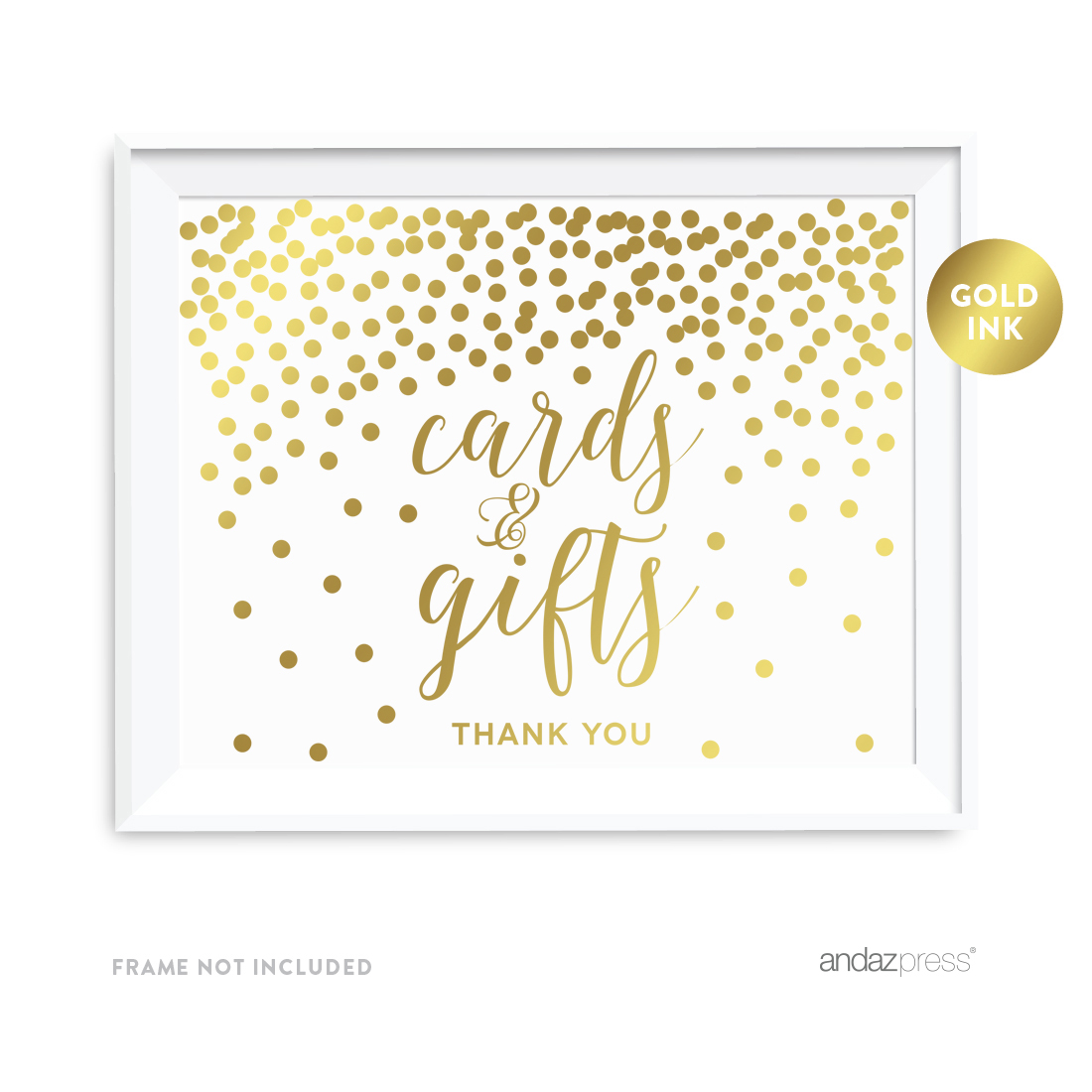 Metallic Gold Confetti Polka Dots 8.5x11-inch Party Sign, Cards and Gifts Thank You, Unframed