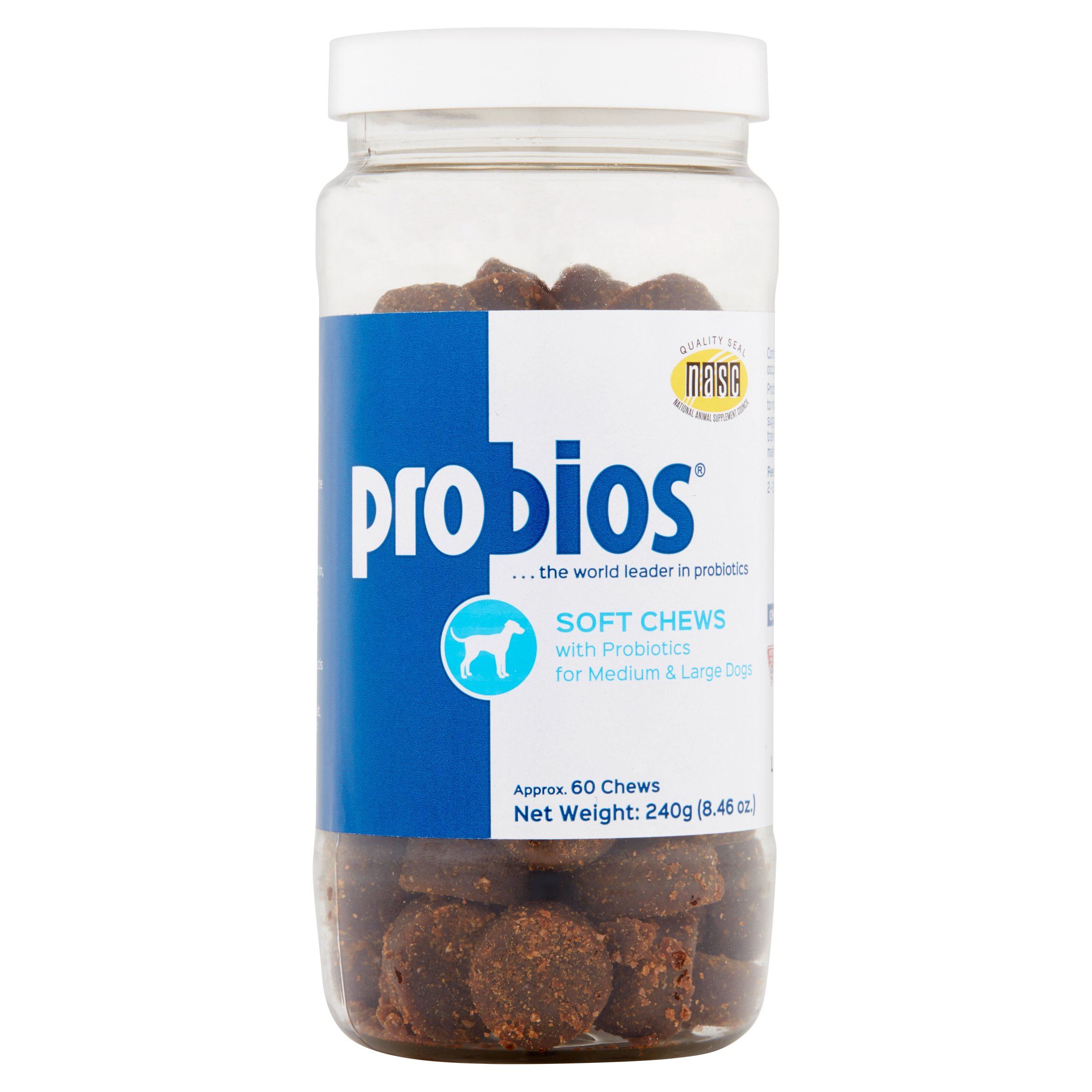 Probios Soft Chews with Probiotics for Medium & Large Dogs, 60 count, 8.46 oz