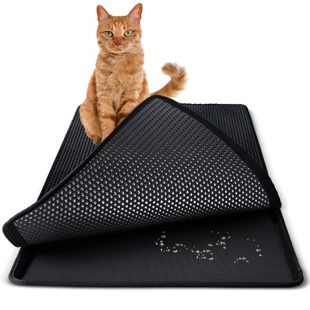 30 x 23 Inch Non Slip Cat and Rabbit Litter Trap Mat for Litter Boxes - Black by Paws & Pals