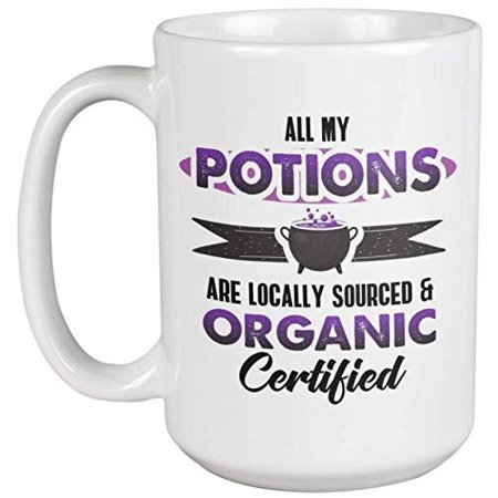 All My Potions Are Locally Sourced And Organic Clever Halloween Coffee & Tea Gift Mug For A Chemist, Pharmacist, Nutritionist, And Sales Rep For Nutrition Supplements (15oz) - Clever Halloween Hashtags