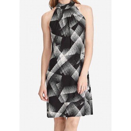 American Living NEW Black Womens Size 10 Mock Neck Printed Sheath Dress Black Sheath Dress