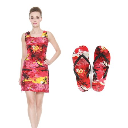 dc45bf4cea553 Hawaii Hangover - Lady Matching Hawaiian Luau Outfit Aloha Fitted Tank Dress  and Flip Flops in Sunset Red Fitted Tank Dress S Sandal 8 - Walmart.com