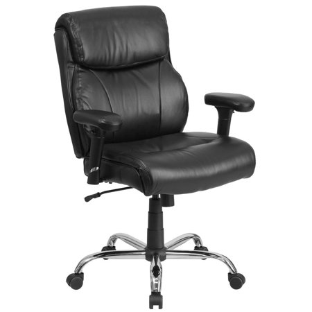 Big & Tall 400 lb. Rated Mid-Back Black Leather Ergonomic Task Office Chair with Clean Line Stitching and Adjustable Arms (400 Leather)