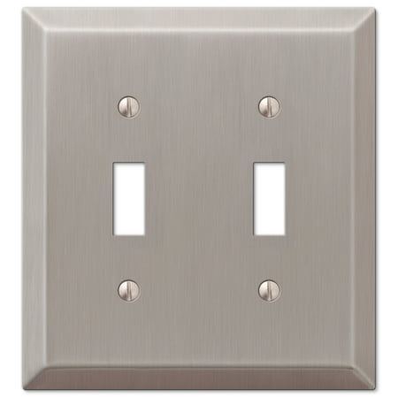Tiffany Style Oval Silver Toggle - Double Toggle 2-Gang Decora Wall Switch Plate, Brushed Nickel