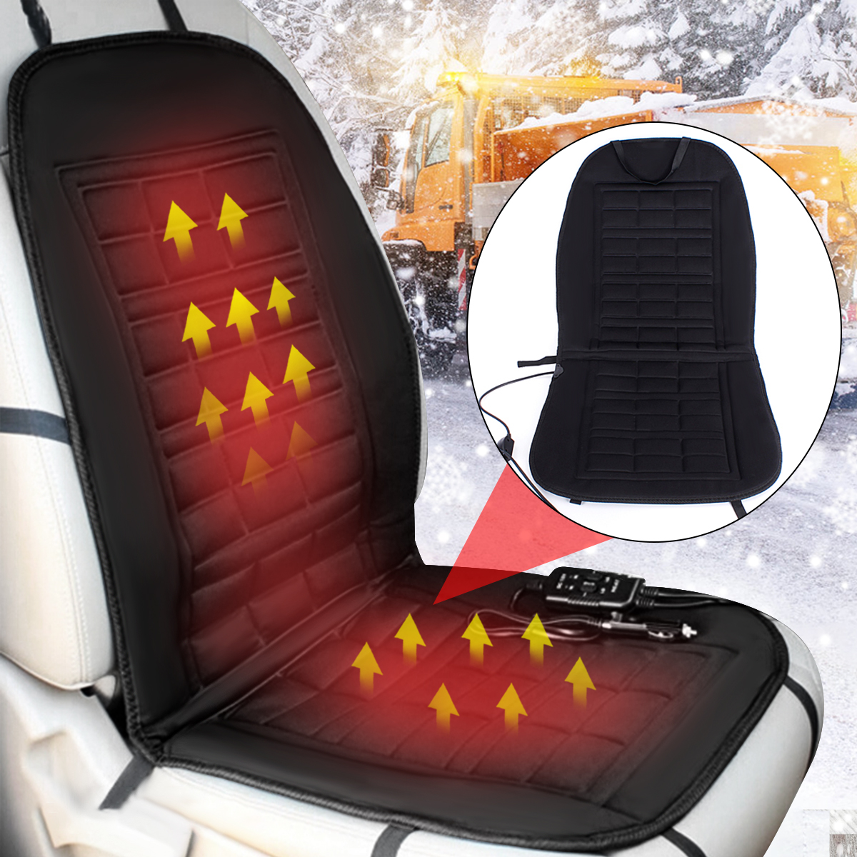 12V Car Heated Seat Cover Cushion Hot Warmer Auto Front Pad Black Grey Cover Perfect for Cold Weather and Winter Driving