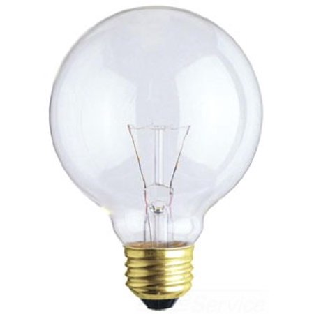 Westinghouse 0421900, 40 Watt, 130 Volt Clear Incandescent G25 Light Bulb, 3500 Hour 320