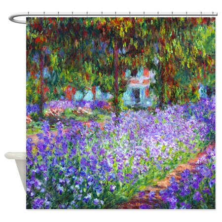 CafePress - Monet Irises In Garden - Unique Cloth Shower Curtain
