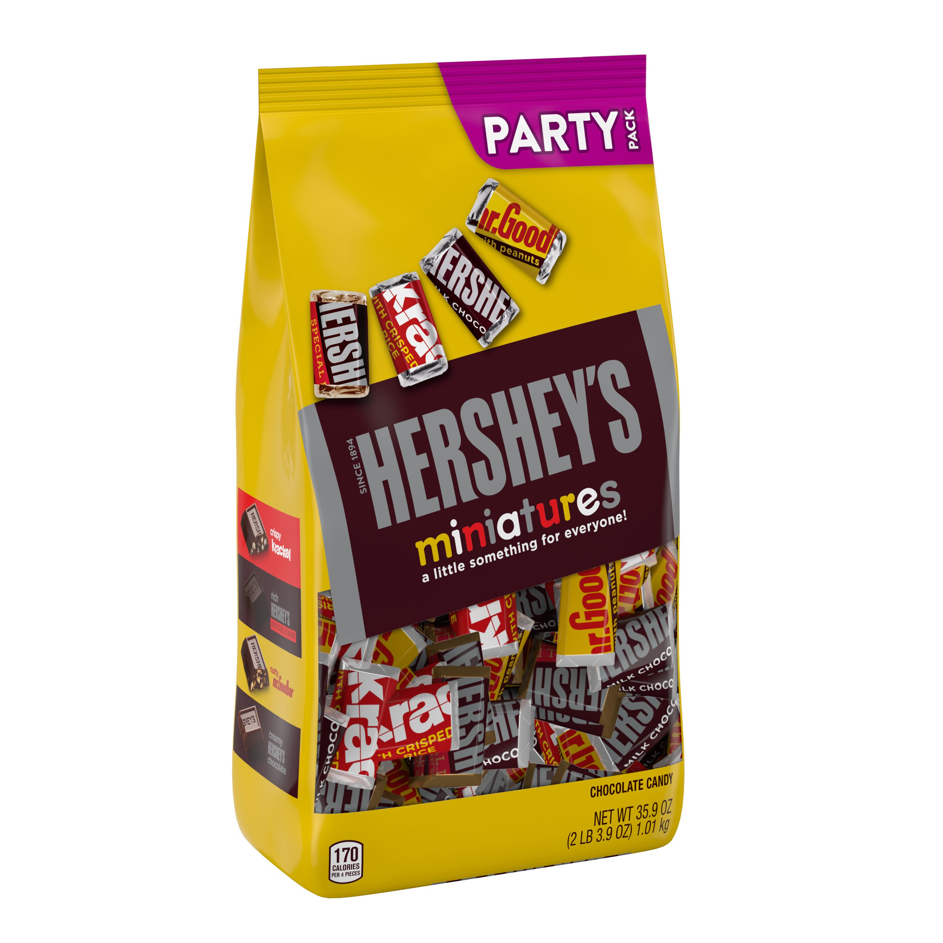 HERSHEY'S Miniatures Assorted Chocolate Candy, Individually Wrapped, 35.9 oz, Party Bag