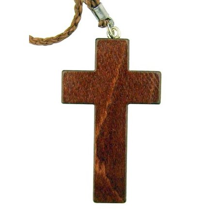 Simple Mahogany Wood Latin Cross Necklace on Cord Chain, 3 1/4 Inch (Wood Cross Necklace)