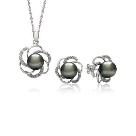 8-9mm 3/4-Cut Tahitian Black Pearl and Diamond Accent Sterling Silver Pendant and Earring Set, 18