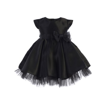 - Sweet Kids Baby Girls Black Full Pleated Satin Bow Flower Girl Dress