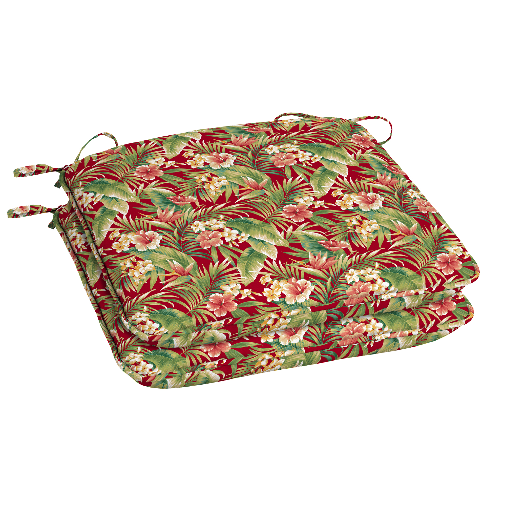 Mainstays Red Tropical Universal Outdoor Seat Pad - Set of 2