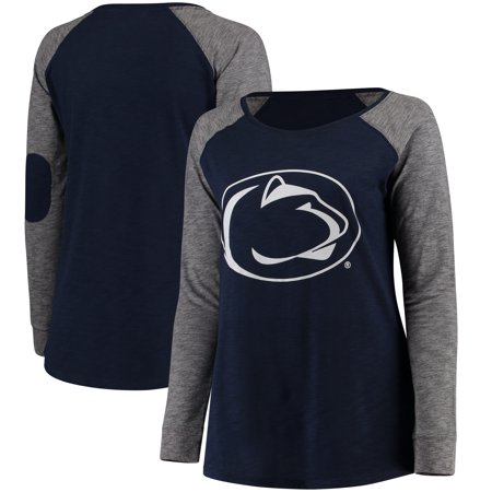 Penn State Nittany Lions Women's Plus Size Preppy Elbow Patch Slub Long Sleeve T-Shirt - Navy/Charcoal Penn State Colors