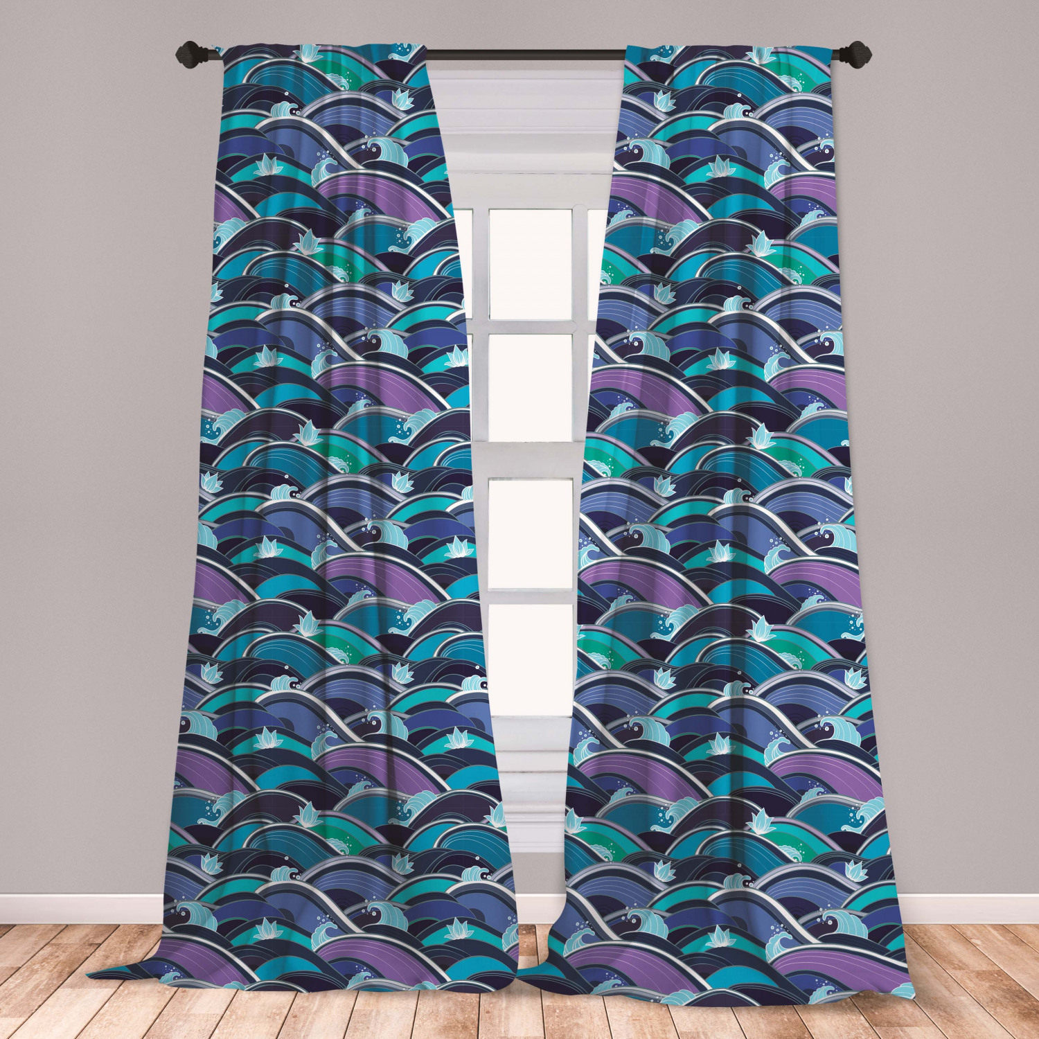 Ocean Curtains 2 Panels Set, Waves Of The Sea With Lotus