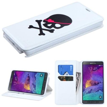 Insten Skull Book-Style Leather Wallet Case Cover with Card slot For Samsung Galaxy Note 4 - White/Black
