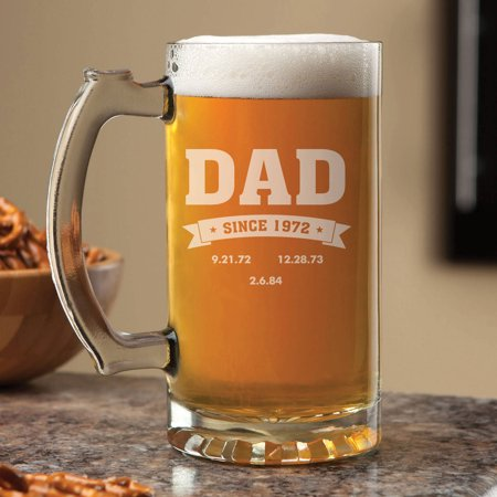 Personalized Beer Mug For Him, Special Dates Clear Glass Beer Mug