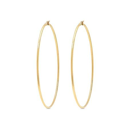 3.5 Inch Stunning Stainless Steel Yellow Gold Tone Hoop Earrings (90mm Diameter) (Tone Stainless Steel Earrings)