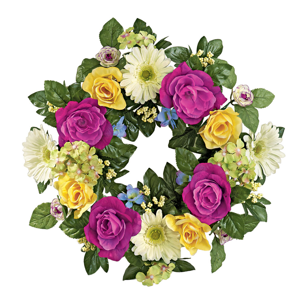 "Yellow And Purple Rose Gerbera Daisies and Hydrangea Floral 17"" Door Wreath, Multi"