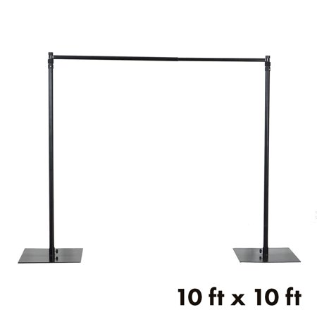 BalsaCircle Black 10 ft x 10 ft Heavy Duty Adjustable Pipe and Drape Kit Backdrop Support Stand - Wedding Party Photo Booth Studio - Photo Booth Backdrop Stand