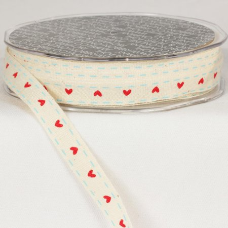 - Pack of 2 Heart Print Ivory White and Scarlet Red Woven Edge Ribbon .375 mm x 60 yards