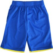 Little Boys Royal Blue Yellow Basketball Shorts 4-6X