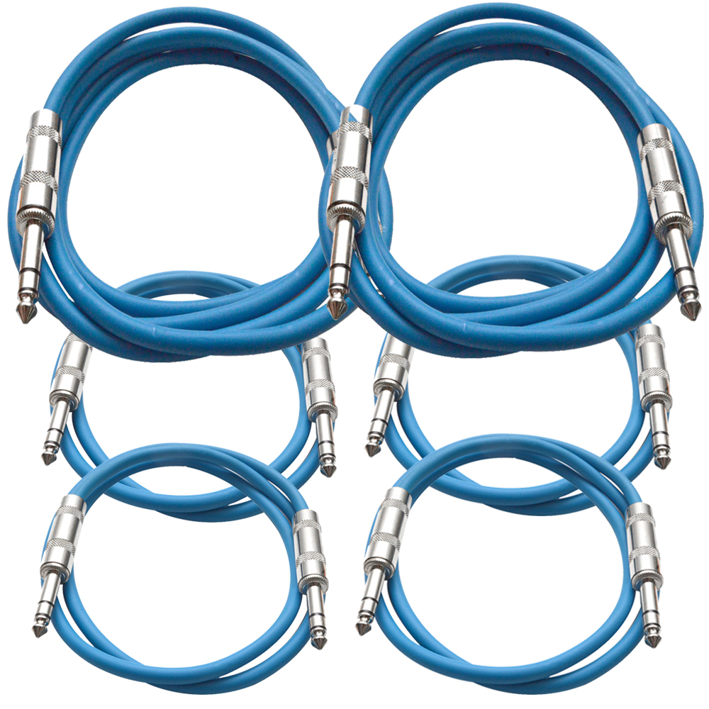 """Seismic Audio  6 Pk of Blue 1/4"""" TRS Patch Cables  - Two 6 ft Two 3 Ft, Two 2 ft Blue - SATRX-6C-Blue"""