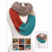"Scarf-Infinity-Stripe Knit-Assorted (12""X 68"") (Pack of 6)"