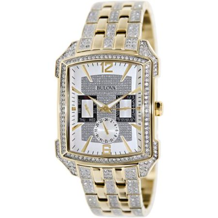 Bulova Mens Stainless Steel Case and Bracelet Silver Dial Yellow Watch - 98C109