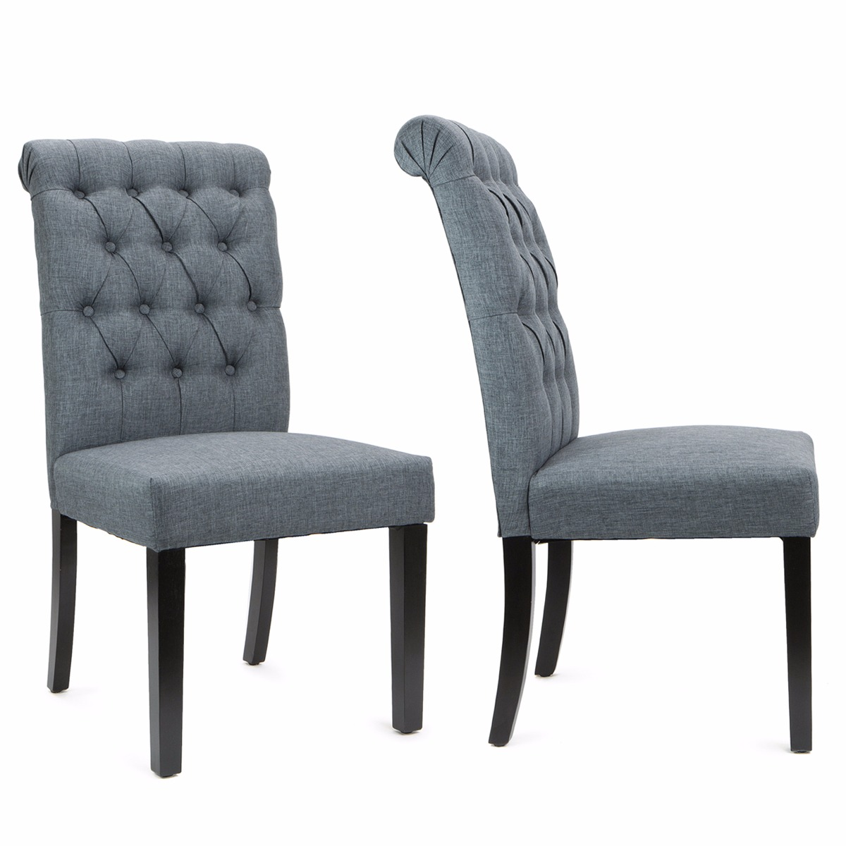 Barton Set of (2) Dining Room Side Chair Tufted Padded Seat High Backrest Armless Wooden Legs, Grey
