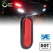 """6"""" Oval Red 24 LED Trailer Tail Lights [DOT Certified] [Grommet & Plug Included] [IP67 Waterproof] Turn Stop Brake Trailer Lights for RV Jeep Trucks"""