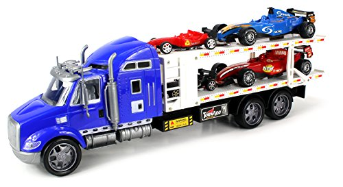 Tornado V-Racer Trailer Children's Kid's Friction Toy Truck Ready To Run w  4 Toy F1 Cars,... by Velocity Toys