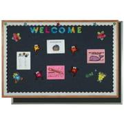 Aarco Products OF2436014 Oak Frame Designer Fabric Bulletin Board - Wedgewood