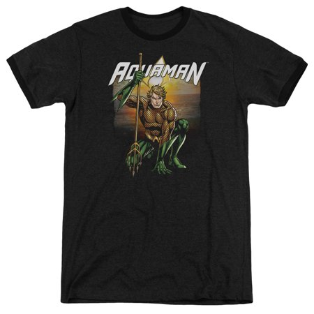 Justice League Beach Sunset Mens Adult Heather Ringer Shirt ()