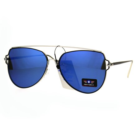 a6361377297 SA106 - Air Force Flat Top Bar Squared Retro Pilots Metal Rim Sunglasses  Silver Blue - Walmart.com