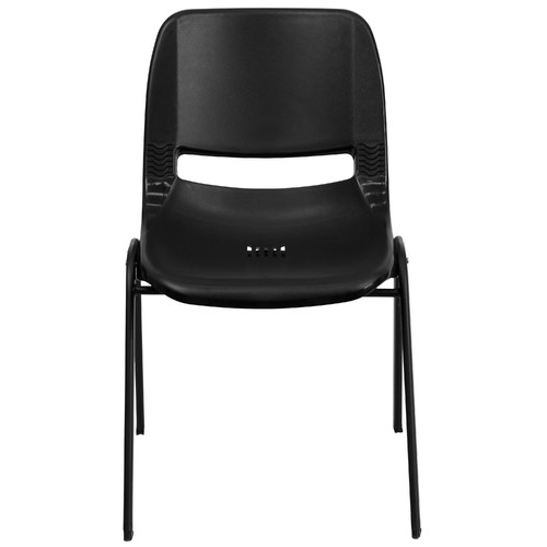 """Flash Furniture HERCULES Series 440 lb Capacity Ergonomic Shell Stack Chair with Black Frame and 12"""" Seat Height, Multiple Colors"""