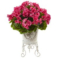Nearly Natural Geranium Floral Arrangement in Planter