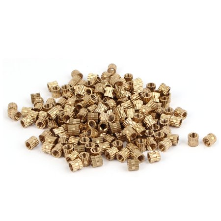 M4 x 5mm x 5.2mm Brass Injection Molding Knurled Threaded Insert Nuts 200PCS - image 3 of 3