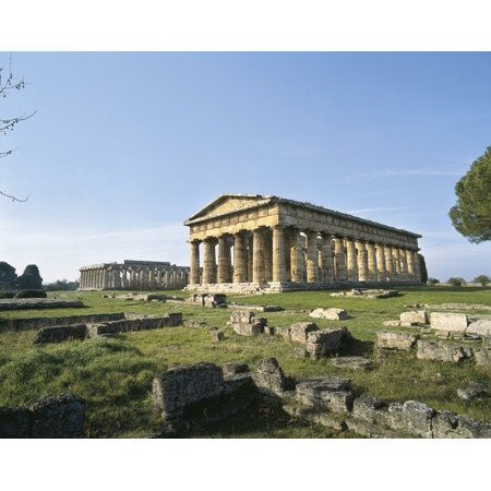 Italy Campania Salerno Paestum Remains Of The Greek Colony On The Right The Basilica  AisaEverett Collection Poster Print
