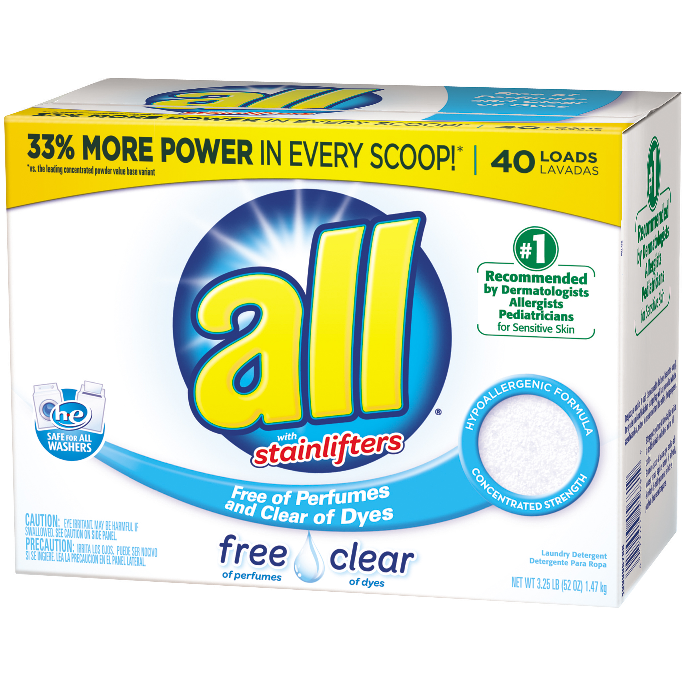 all Stainlifters Powder HE Laundry Detergent, Free and Clear, 52 Oz, 40 Loads