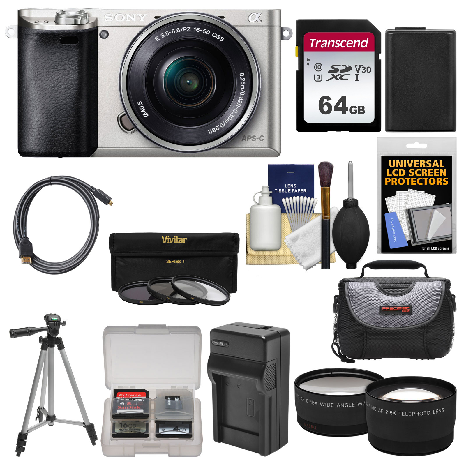 Sony Alpha A6000 Wi-Fi Digital Camera + 16-50mm Lens (Silver) with 64GB Card + Case + Battery/Charger + Tripod + Tele/Wide Lens Kit