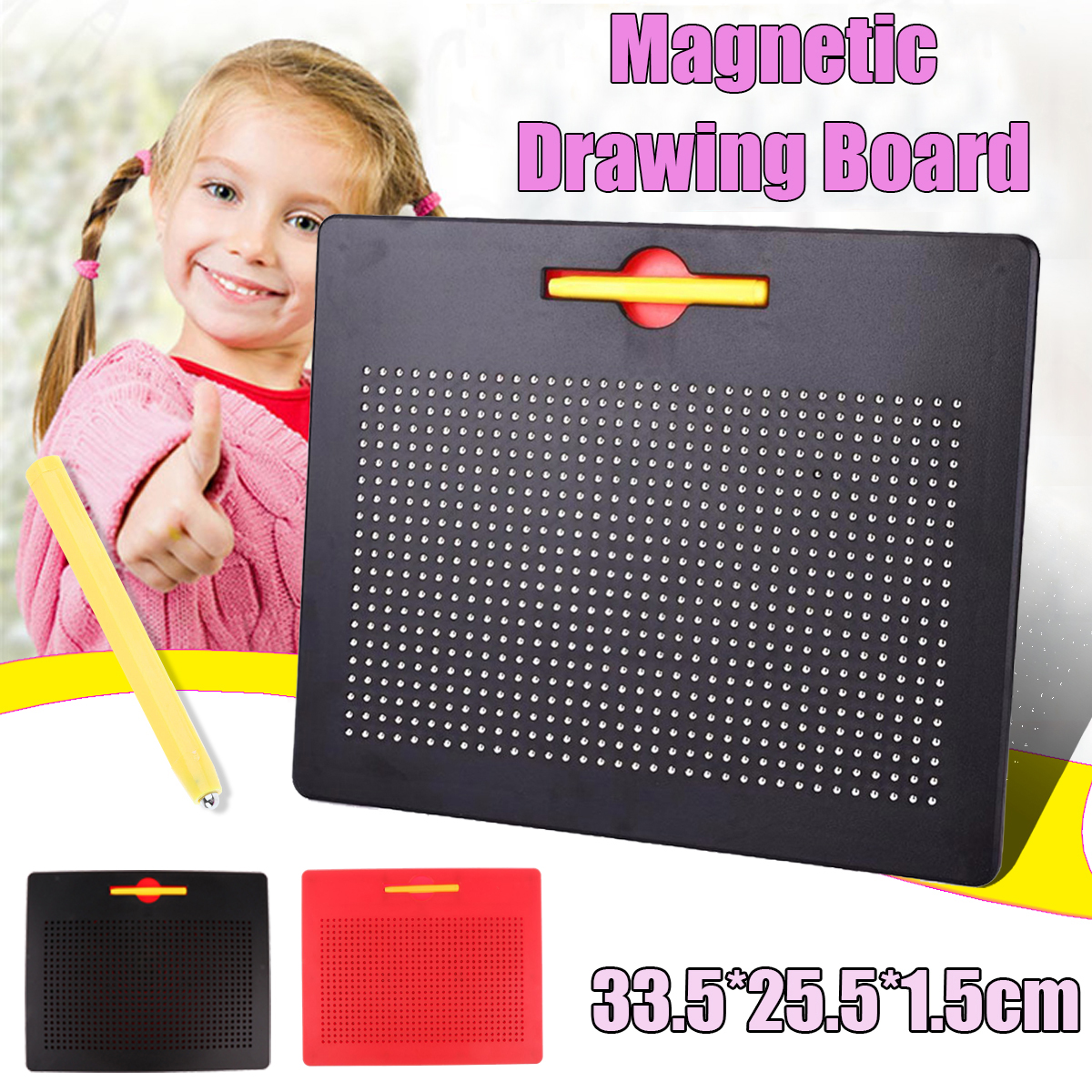 Educational Magnetic Tablet Magnatab Drawing Board Bead Pad w//Pen Kids Toy Gift