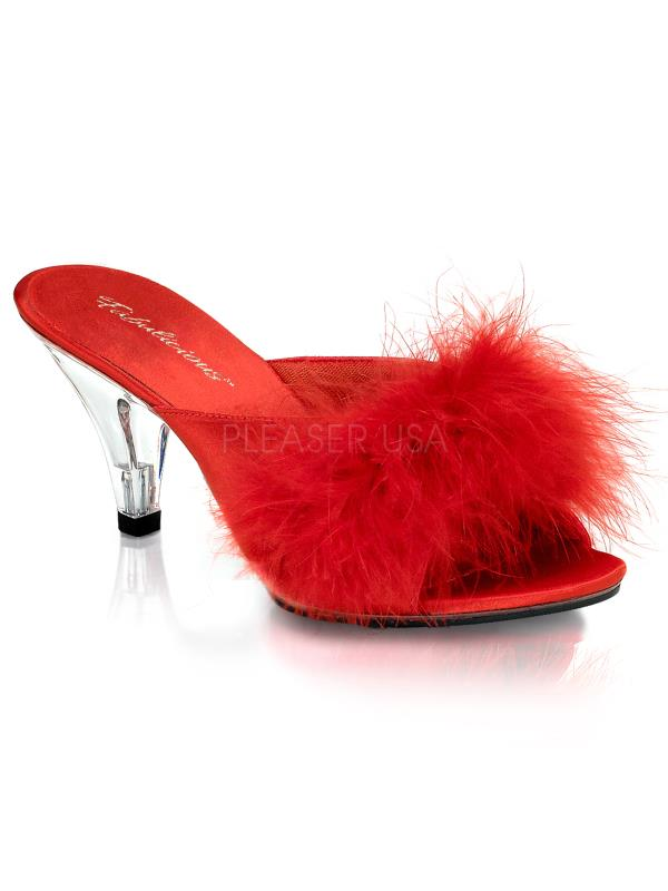 """Red Satin-Fur/Clr Fabulicious Shoes 3"""" Belle Size: 16"""