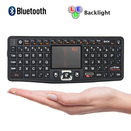 Rii Bluetooth Mini Qwerty Keyboard Adjustable DPI Touchpad for PC, HTPC, Apple, Xbox360, Wii, PS3, Black (N7 (Sony Vaio Touchpad)