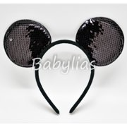 12 Pack Sequins Mickey Mouse Ears Reversible Minnie Sparkle Headbands Favors Diademas