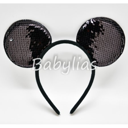 12 Pack Sequins Mickey Mouse Ears Reversible Minnie Sparkle Headbands Favors - Personalized Mickey Mouse Ears